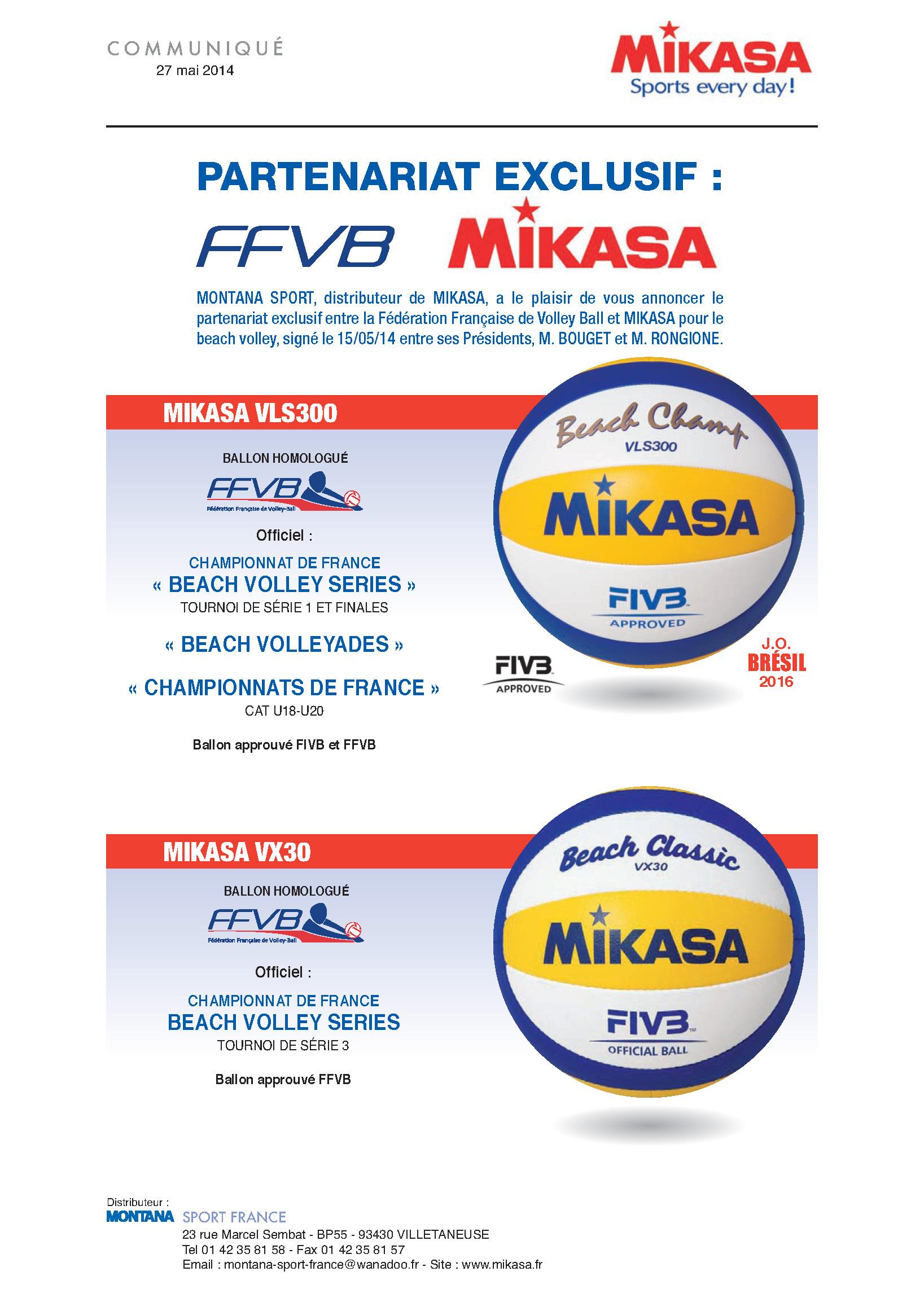 Partenariat exclusif MONTANA MIKASA et FFVB